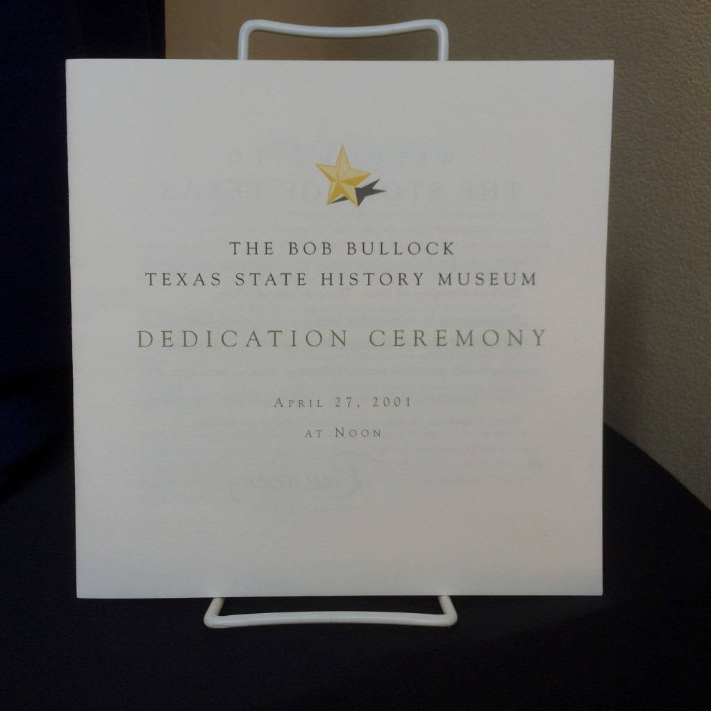 The booklet for the museum's dedication ceremony on April 27, 2001.