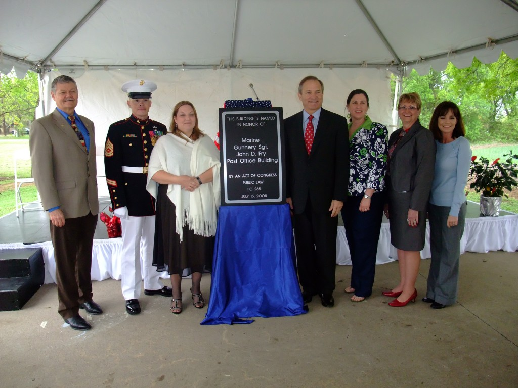 Congressman Chet Edwards and the dedication of the Lorena, TX Post Office in Sgt. John D. Fry's honor.