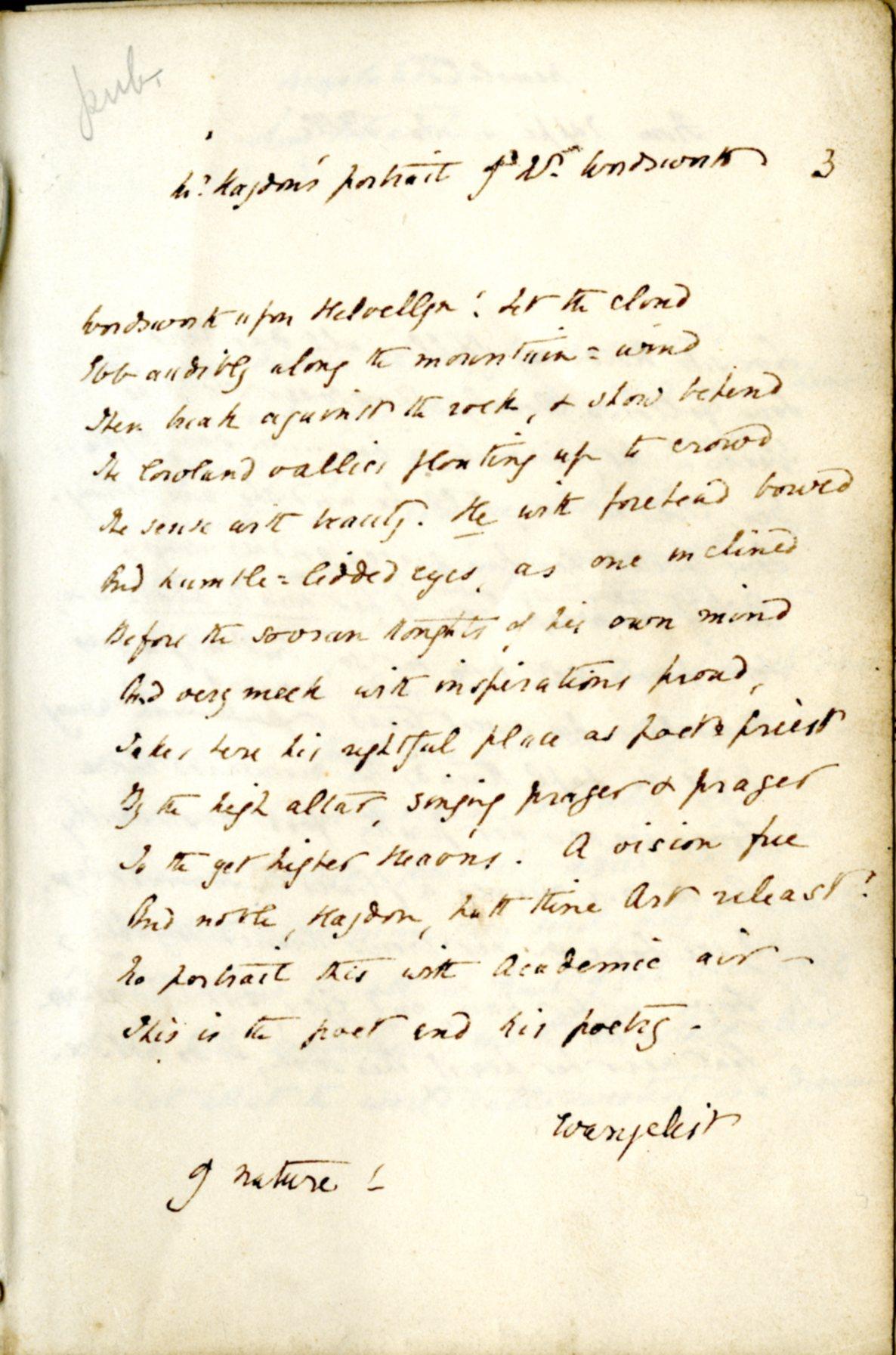 EBB manuscript-On a Portrait of Wordsworth, by R.B. Haydon