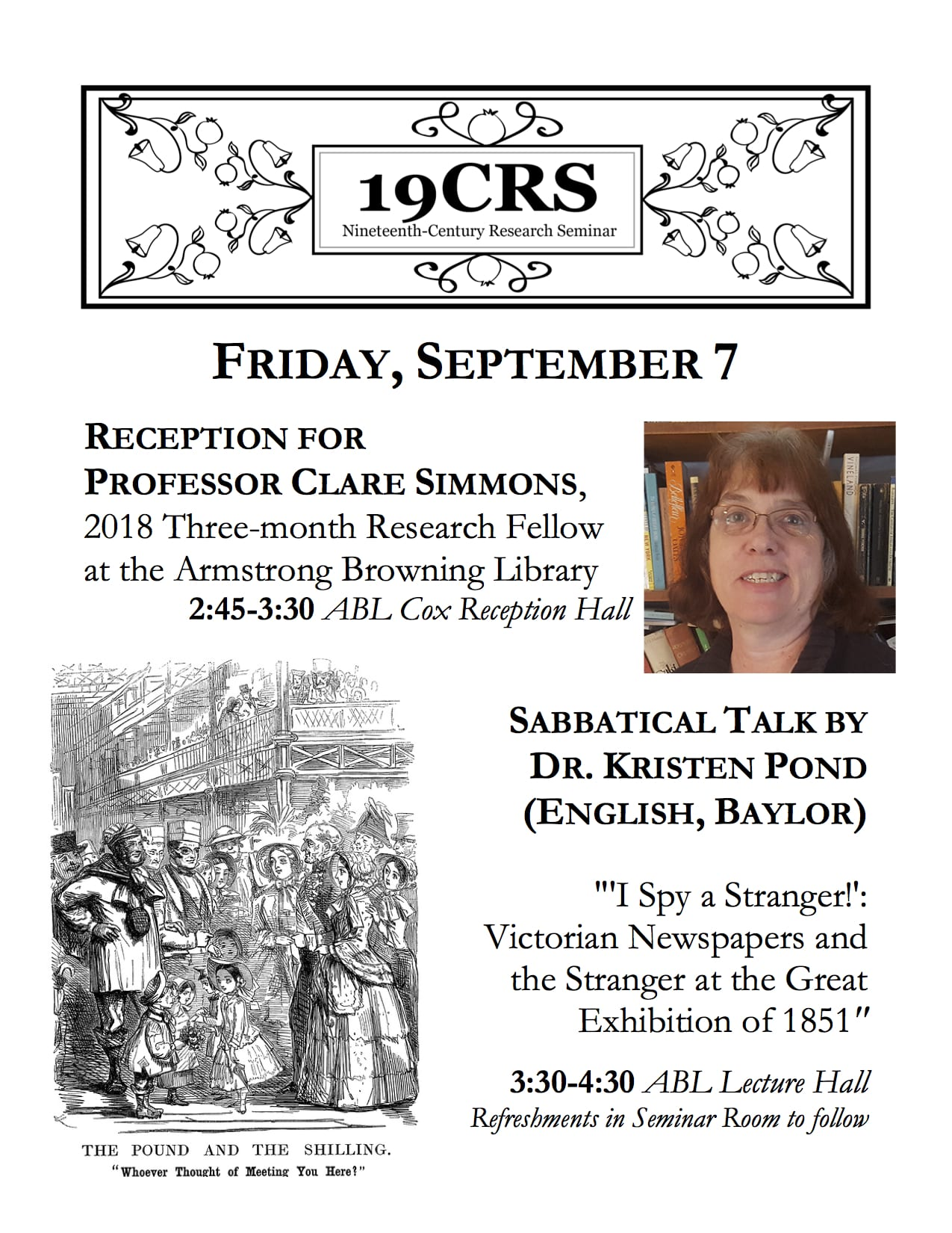 Flier for Professor Clare Simmons's Reception and Dr. Kristen Pond's Sabbatical Talk