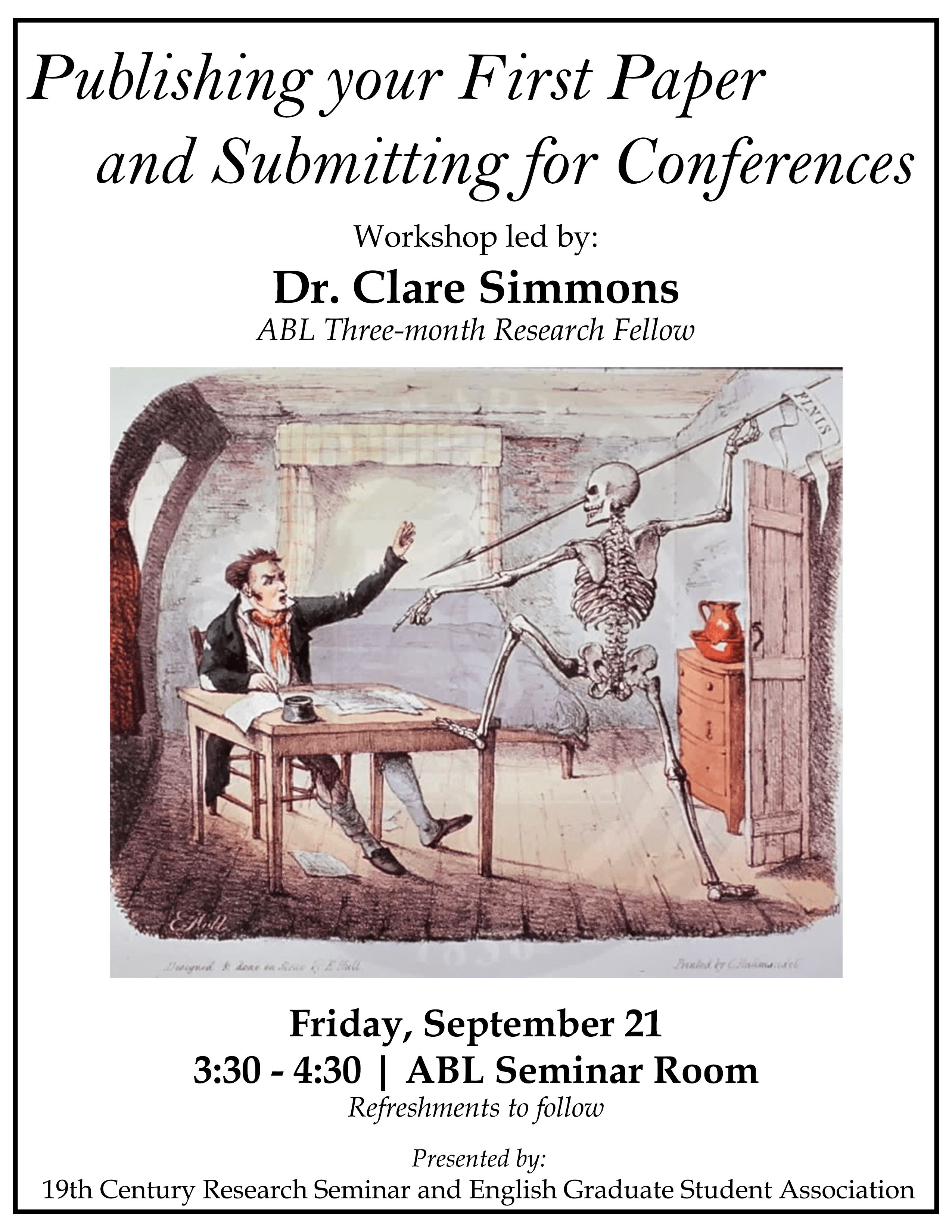 Flyer for the Workshop led by Prof. Clare Simmons