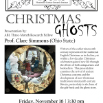 "Flyer for Prof. Clare Simmons's talk: ""Christmas Ghosts"""