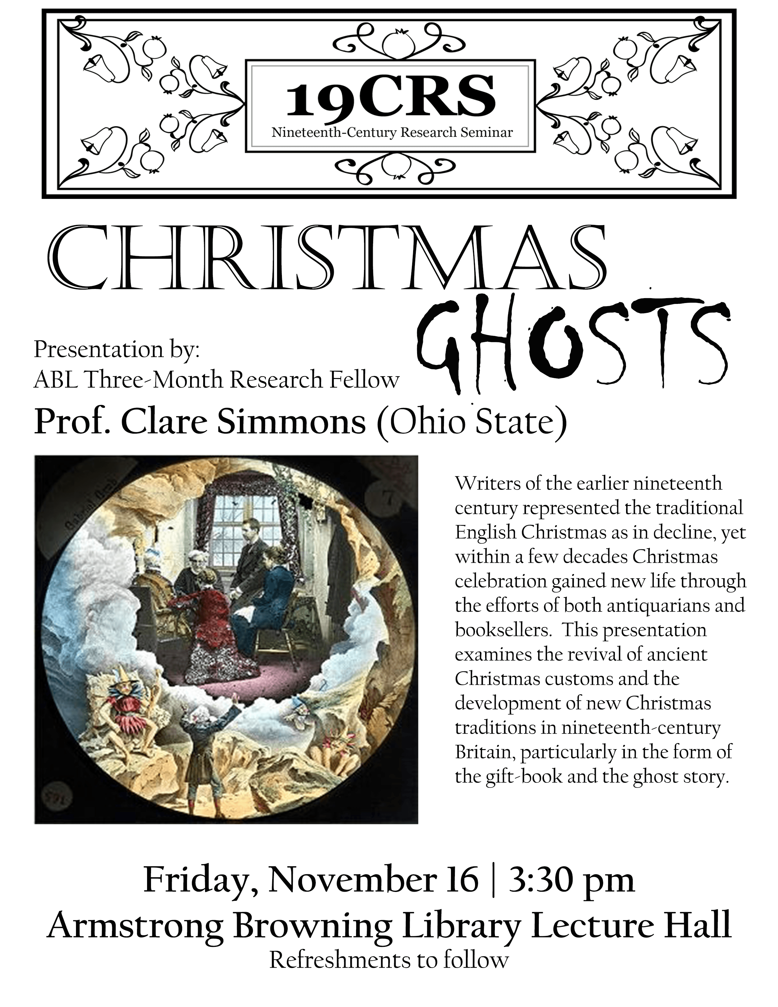 """Flyer for Prof. Clare Simmons's talk: """"Christmas Ghosts"""""""