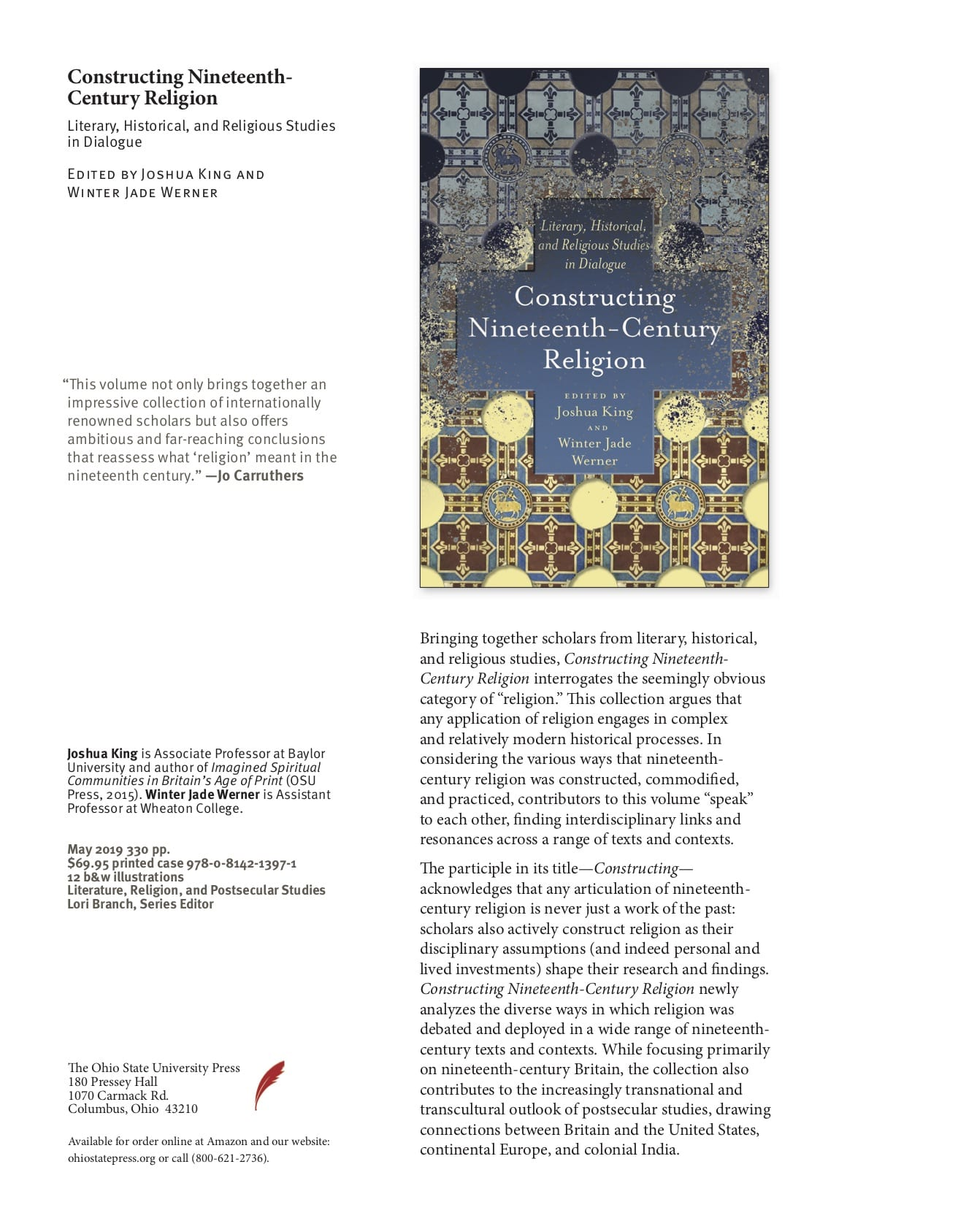 Flyer describing Joshua King's and Winter Jade Werner's newly released edited collection: Constructing Nineteenth-Century Religion