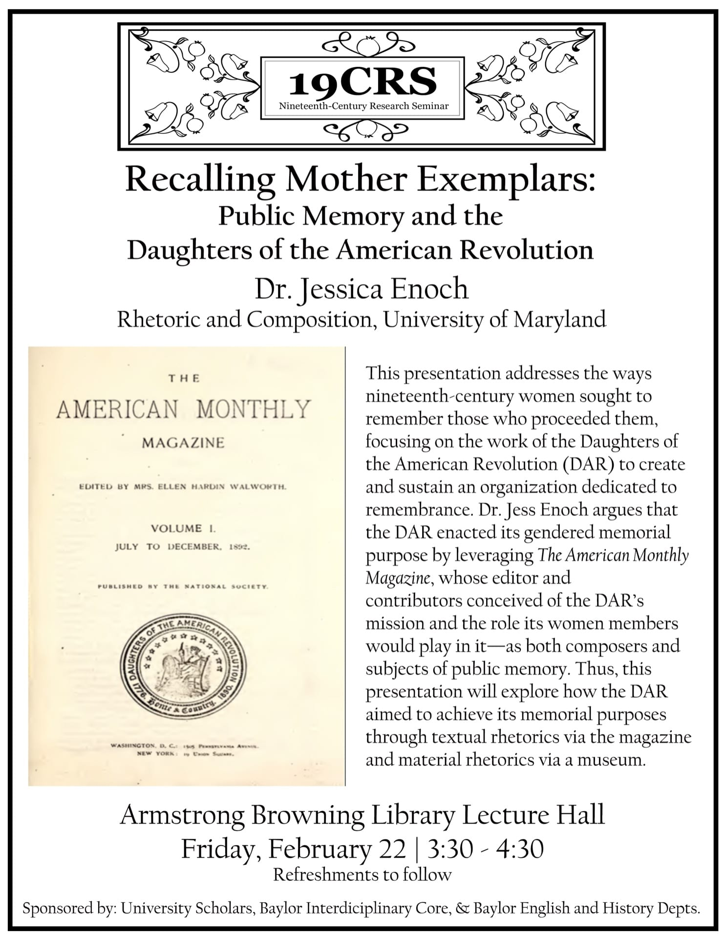 Flyer for Jess Enoch's talk. It includes an image of a title page from American Monthly Magazine.