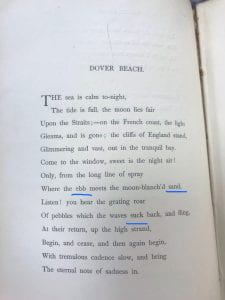 """Image of the first page of """"Dover Beach"""" with blue underlines in line seven under """"ebb"""" and """"sand"""" as well as line nine under """"suck"""""""