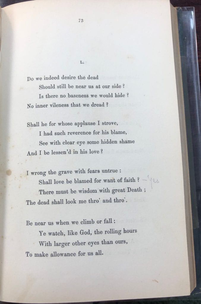 """Image of poem L with """"yes"""" written in pencil in the margin next to line 10."""