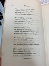 """Image of a book page printed with stanzas 4-8 of """"Morning"""""""