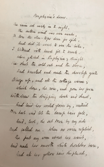 """Image of the first page of the fair copy of """"Porphyria's Lover."""" It is handwritten."""