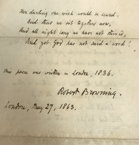 """Image of the second page of the fair copy of """"Porphyria's Lover."""" It is handwritten with the date and Robert Browning's signature."""