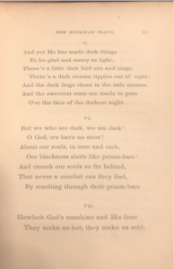 """Image of the 1848 version of """"The Runaway Slave at Pilgrim's Point"""" stanzas 5, 6, and first two lines of 7."""