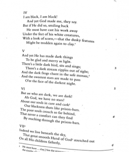 """Image of the 1850 version of """"The Runaway Slave at Pilgrim's Point"""" stanzas 4-6 and the first three lines of stanza 7"""