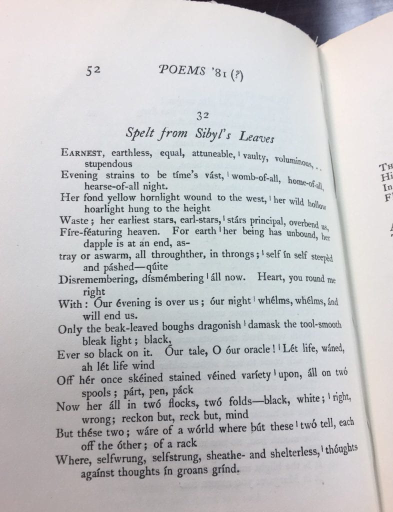 """Image of Gerard Manley Hopkins's """"Spelt from Sibyl's Leaves"""" printed in a book"""