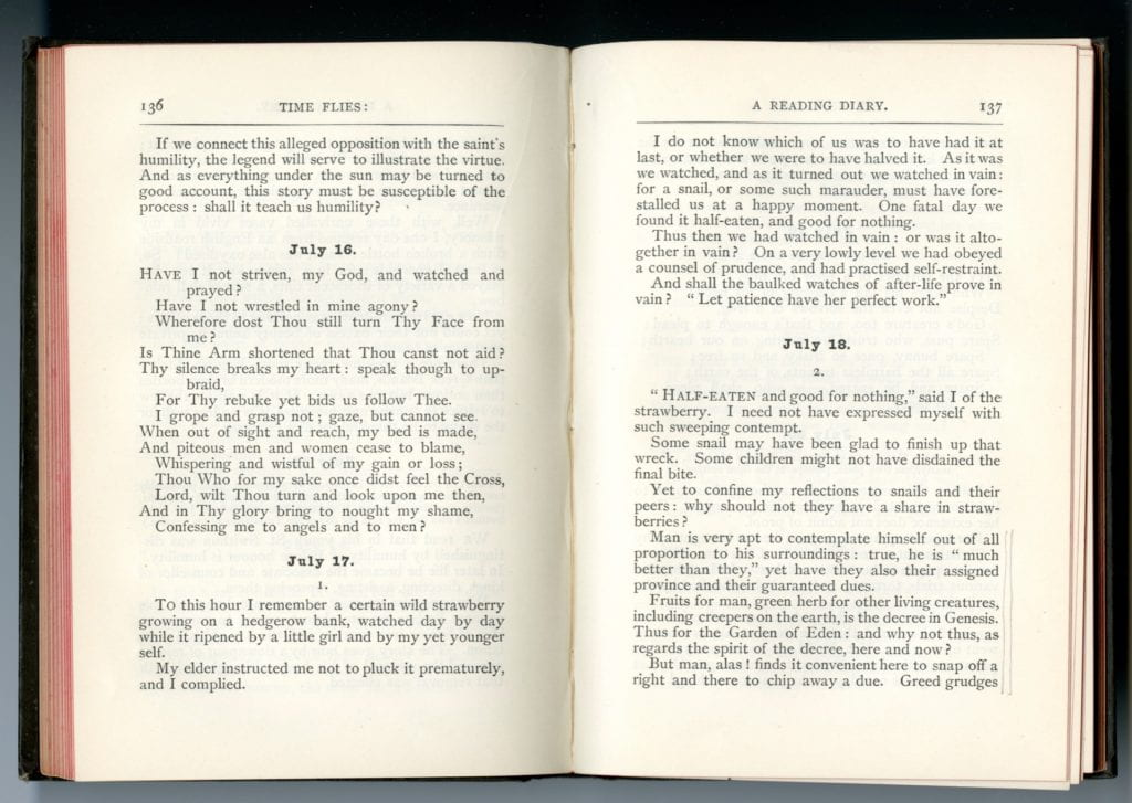 Scan of Rossetti's Time Flies open to page 136 and 137 showing the entries for July 16, 17th and part of the 18th