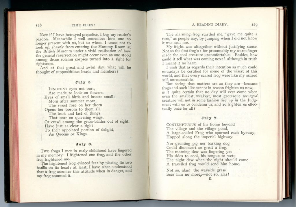 Scan of Rossetti's Time Flies open to page 128 and 129 showing the entries for July 5, 6, and part of the 7th