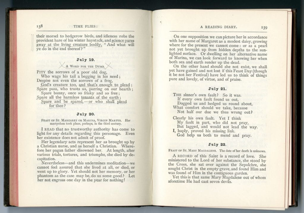 Scan of Rossetti's Time Flies open to page 138 and 139 showing the end of the entry for July 18th, 19th, 20th, 21st, and part of the 22nd