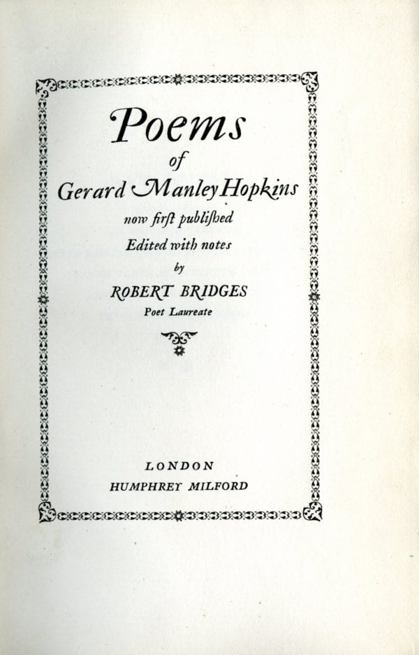 Image of the title page of Poems of Gerard Manley Hopkins