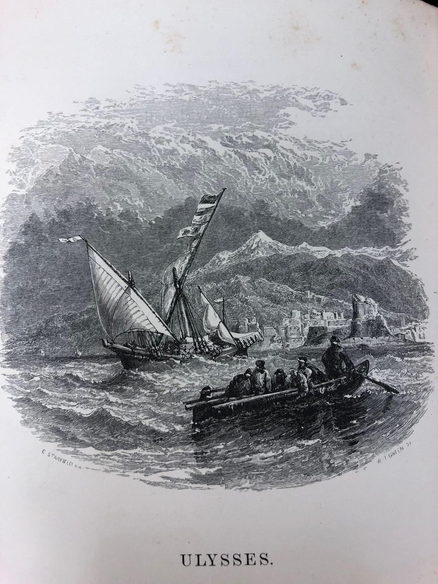 Black and white drawing with a ship in the background with sails and a rowboat in the foreground with people in it.