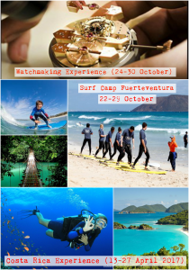 Trips Programme. Enjoy the great opportunity to be part of those amazing trips: Switzerland Watchmaking Experience, Fuerteventura Surf Camp and Costa Rica. Sign up to these before 30th September please.  Email: leticia.devega-dublan@cdl.ch