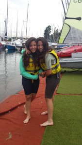 Sandra and Marina went sailing last week. It was a lovely evening on a very calm lake. They learned how to control the boat, how to go faster and how to stop! All with the power of the wind! What an amazing experience!
