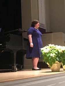 Elizabeth Romano, soprano, performed Music For A While by Henry Purcell, Heidenröslein vy Franz Schubert, and Una donna a quindici anni, from Cosi Fan Tutte by W.A. Mozart. Elizabeth is a Minna Kaufmann Ruud scholar studying vocal performance with Dr. Kelly Lynch and Mr. Walter Morales.