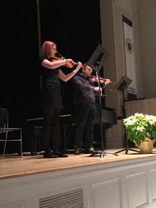Gabrielle Ford, viola, performed Bridges, a piece she composed. Gabrielle Ford is accompanied by her instructor, Roger Zahab, violin.