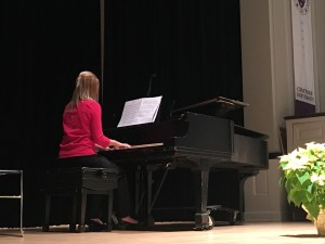 Kathryn Polaski, piano, performed Träumerei from Kinderszenen, op. 15 by Robert Schumann, Girl with the Flaxen Hair from Preludes, Book 1 by Debussy, and Andaluza from Spanish Dances, Op. 37 No. 5, by Enrique Granados. Kathryn studies piano with Professor Pauline Rovkah.