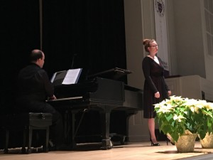 Sarah Weinschenker, soprano, performed Sweeter than Roses by Henry Purcell, Bedeckt mich mit Blumen by Hugo Wolf, and Let Beauty Awake by Ralph Vaughan Williams.