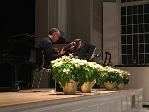 Tanya Guterson-Trestman, guitar, performed Snowflight by Andrew York as a solo. Then, accompanied by her guitar instructor, John Marcinizyn, they performed Blackbird by Lennon and McCartney.