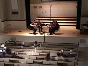 Pre-performance string quartet