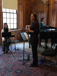 Rachael Stutzman, clarinet, introduces the group.