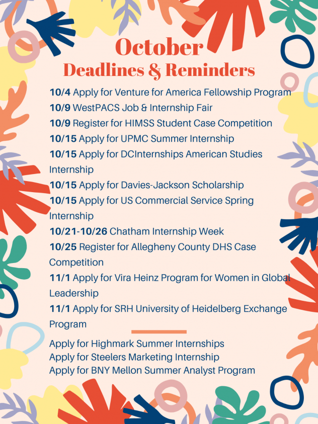 October Deadlines & Reminders