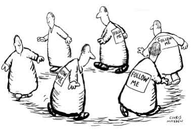 Cartoon that plays on the concept of groupthink
