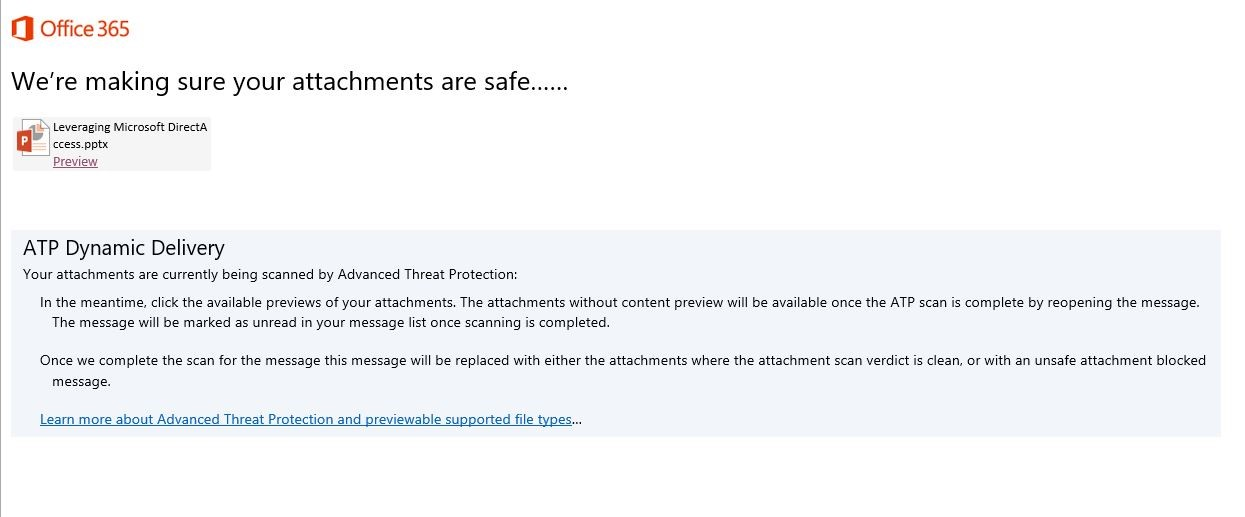 Office 365 Attachment Scan Screen