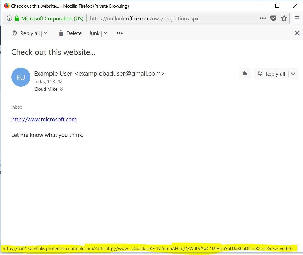 Safelink Email Screenshot
