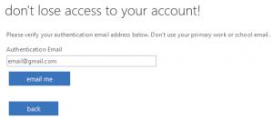 Enter email address screen