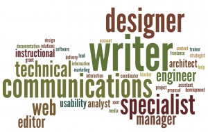 A word cloud featuring some of the titles and terms associated with the modern professional writer.