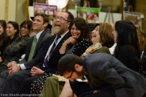 Photo: Eliran Shkedi/ Guests laugh at the 25th Anniversary Celebration for Chabad House on Campus in Pittsburgh where Club President Leiba Estrin won an award for student leadership.