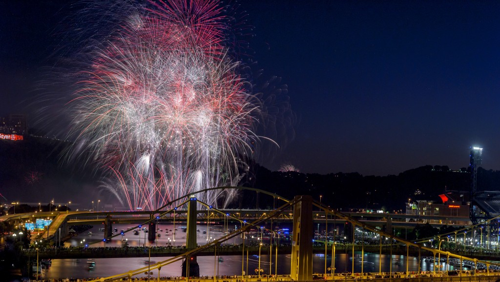 """Pittsburgh Fireworks"" by Julia Wolf on Flickr, made available under a CC BY-NC-SA 2.0 license"