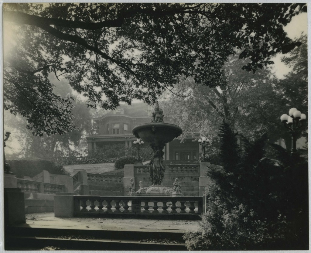 Benedum Hall Gardens and Fountain.  Source: Chatham University Archives & Special Collections