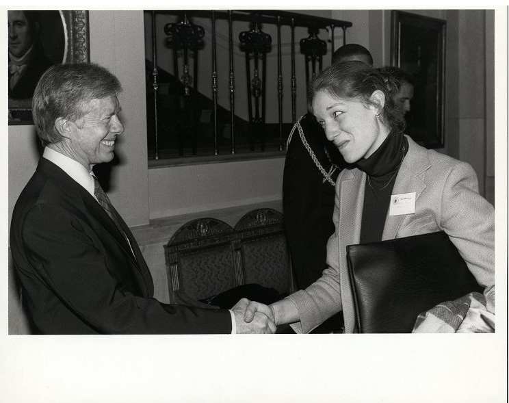 Bonnie McElvery, Student Government President, with President Jimmy Carter at the White House