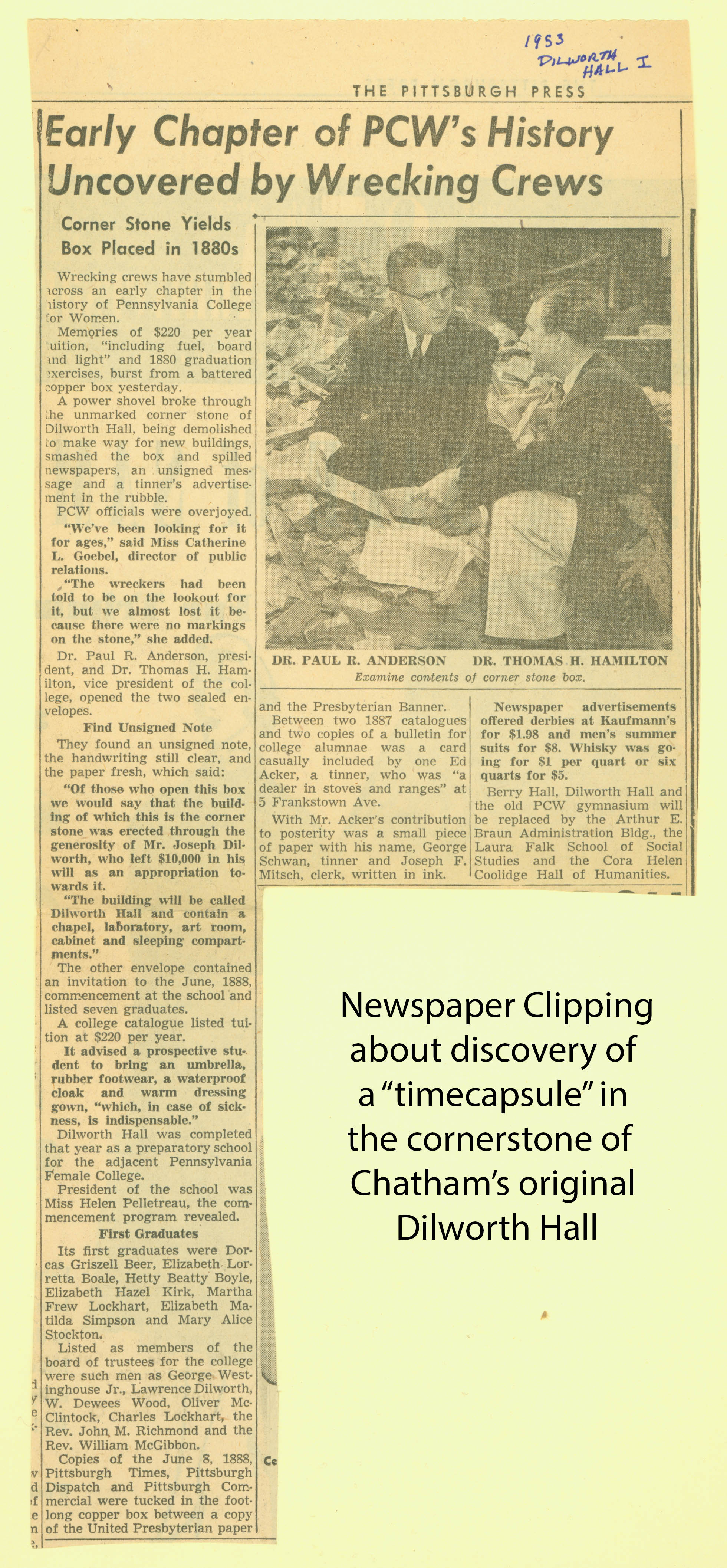 Newspaper clipping about PCW time capsule discovery