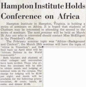 Student newspaper article about Hamtpon Institute Seminar