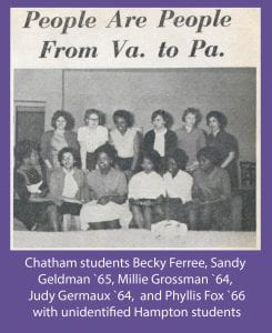 Group of Chatham and Hampton students gathered at Hampton in 1962