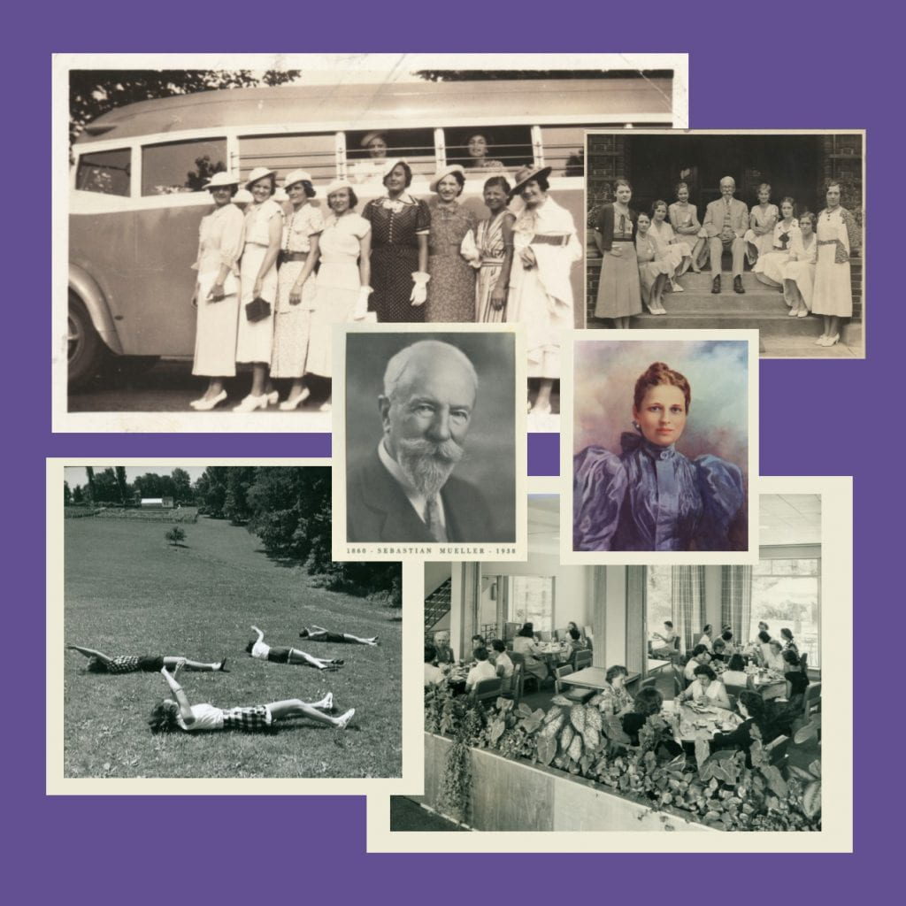 Collage of photographs featuring Sebastian Mueller, Elizabeth Heinz Mueller, guests at Eden Hall Farm in front of a bus, eating in the cafeteria, and playfully rolling down a hill.