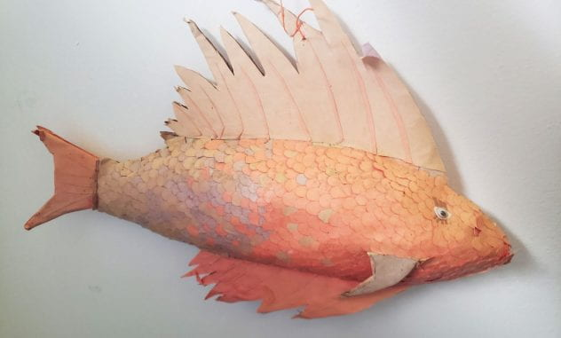 Fish made from cardboard and construction paper