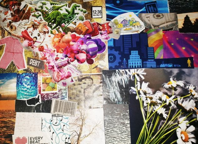 Collage made from several images and materials