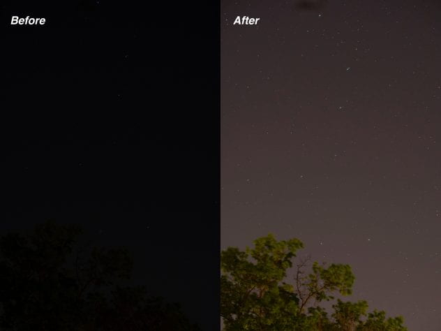 a before and after of stars. before is what the naked eye sees with light pollution, after is what we could see without light pollution.