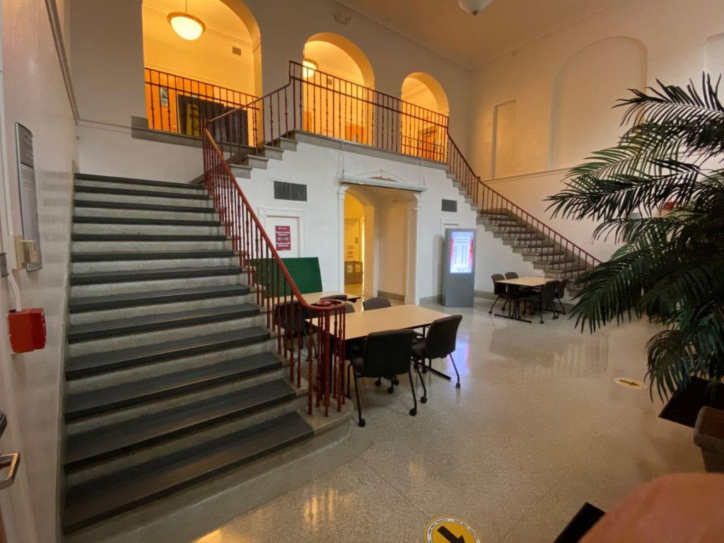 Lobby of the Silcox Gym 2020.