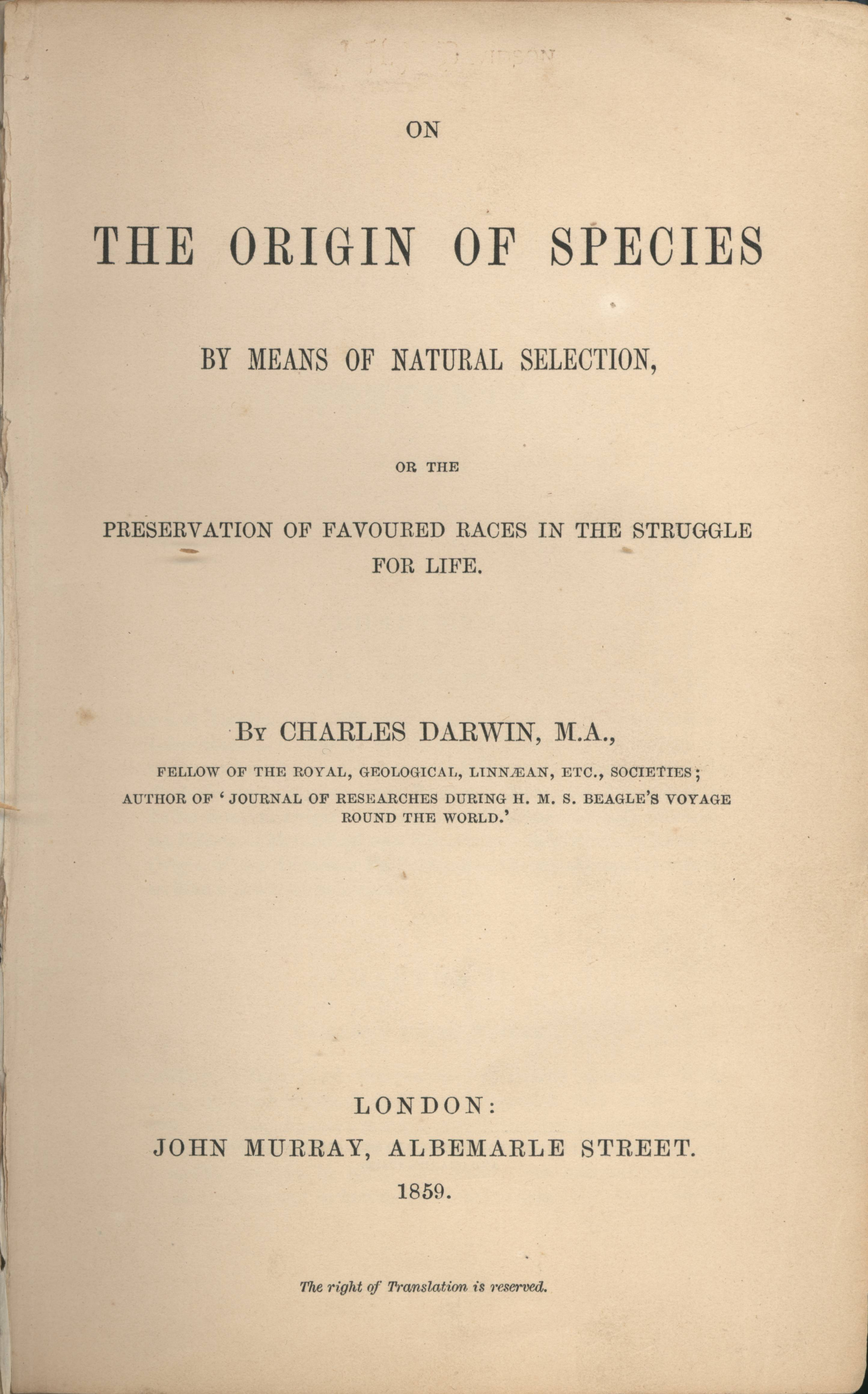 The title page of On the Origin of Species. Image from WikimediaCommons.